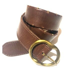 LUCKY BRAND BROWN LEATHER NAIL HEAD DETAIL BELT